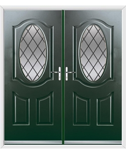 Montana French Rockdoor in Emerald Green with Diamond Lead