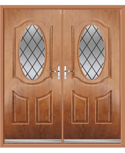Montana French Rockdoor in Light Oak with Diamond Lead