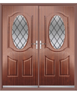 Montana French Rockdoor in Mahogany with Diamond Lead