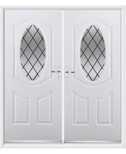 Montana French Rockdoor in White with Diamond Lead