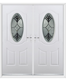 Montana French Rockdoor in Blue White with Libra Glazing