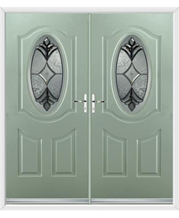 Montana French Rockdoor in Chartwell Green with Libra Glazing