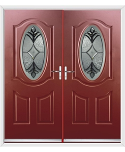 Montana French Rockdoor in Ruby Red with Libra Glazing