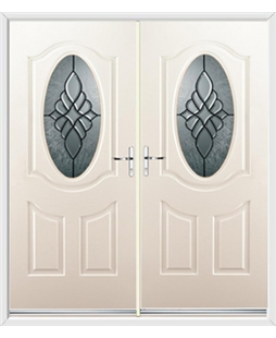 Montana French Rockdoor in Cream with Renaissance Glazing
