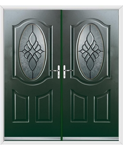 Montana French Rockdoor in Emerald Green with Renaissance Glazing