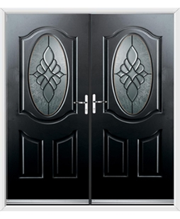 Montana French Rockdoor in Onyx Black with Renaissance Glazing