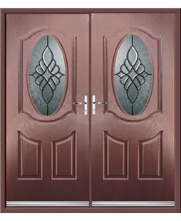 Montana French Rockdoor in Rosewood with Renaissance Glazing