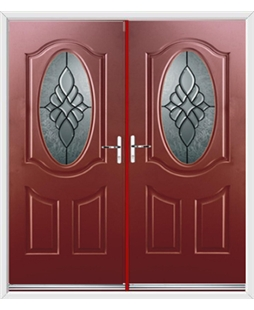 Montana French Rockdoor in Ruby Red with Renaissance Glazing