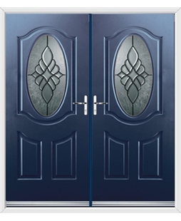 Montana French Rockdoor in Sapphire Blue with Renaissance Glazing