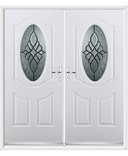 Montana French Rockdoor in White with Renaissance Glazing