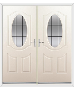 Montana French Rockdoor in Cream with Square Lead