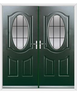 Montana French Rockdoor in Emerald Green with Square Lead