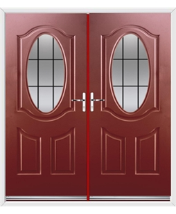 Montana French Rockdoor in Ruby Red with Square Lead