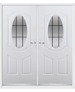 Montana French Rockdoor in White with Square Lead