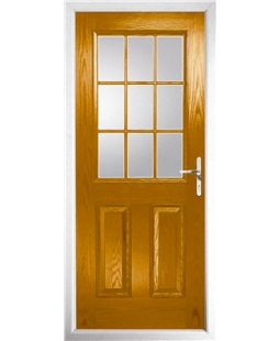 The Kettering Composite Door in Oak with Clear Glazing