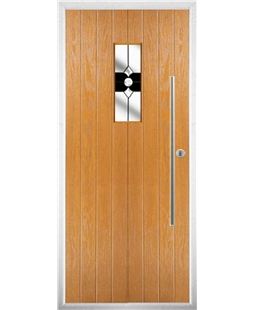 The Zetland Composite Door in Oak with Black Crystal Bohemia