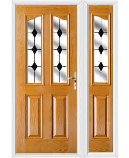 The Birmingham Composite Door in Oak with Black Diamonds and matching Side Panel