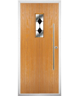 The Zetland Composite Door in Oak with Black Diamonds