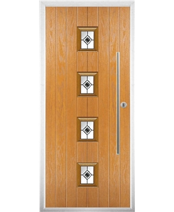 The Leicester Composite Door in Oak with Black Fusion Ellipse