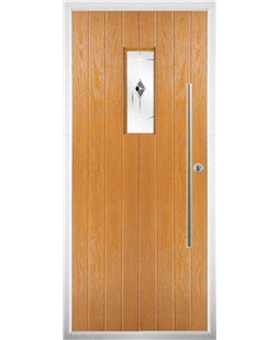 The Zetland Composite Door in Oak with Black Murano