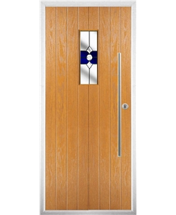 The Zetland Composite Door in Oak with Blue Crystal Bohemia