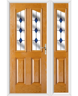 The Birmingham Composite Door in Oak with Blue Diamonds and matching Side Panel