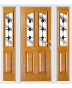 The Birmingham Composite Door in Oak with Blue Diamonds and matching Side Panels