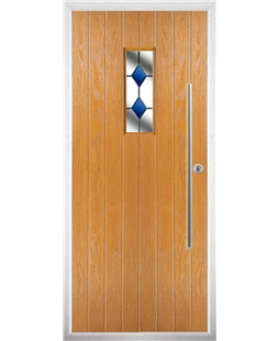 The Zetland Composite Door in Oak with Blue Diamonds