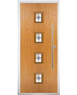 The Leicester Composite Door in Oak with Blue Fusion Ellipse