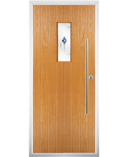 The Zetland Composite Door in Oak with Blue Murano