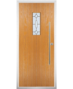 The Zetland Composite Door in Oak with Brass Art Clarity