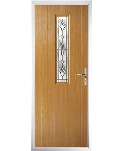 The Sheffield Composite Door in Oak with Brass Art Clarity
