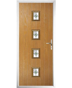 The Uttoxeter Composite Door in Oak with Green Fusion Ellipse