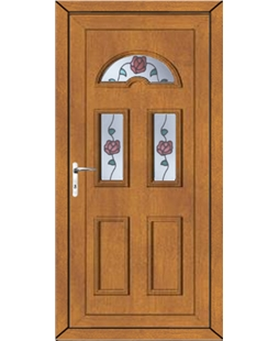 Brighton Climbing Rose uPVC High Security Door In Oak