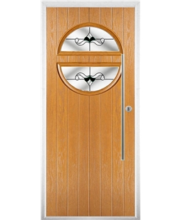 The Xenia Composite Door in Oak with Black Crystal Bohemia