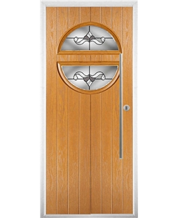 The Xenia Composite Door in Oak with Crystal Bohemia Frost