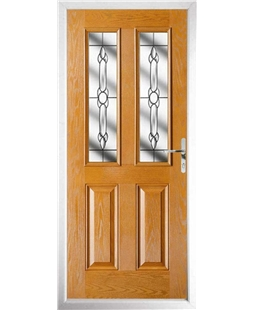 The Cardiff Composite Door in Oak with Crystal Bohemia