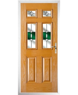 The Oxford Composite Door in Oak with Green Crystal Bohemia