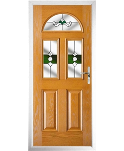 The Glasgow Composite Door in Oak with Green Crystal Bohemia