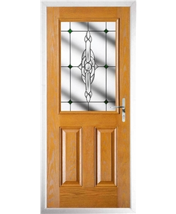 The Farnborough Composite Door in Oak with Green Crystal Bohemia