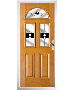 The Glasgow Composite Door in Oak with Black Crystal Bohemia