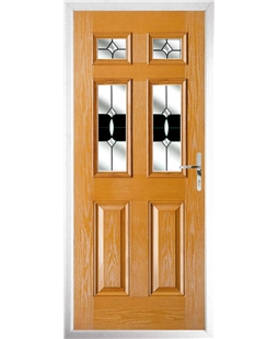 The Oxford Composite Door in Oak with Black Crystal Bohemia