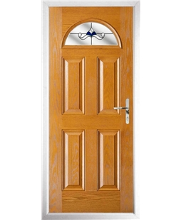 The Derby Composite Door in Oak with Blue Crystal Bohemia