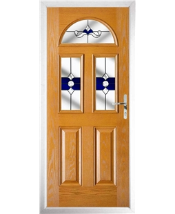 The Glasgow Composite Door in Oak with Blue Crystal Bohemia