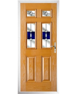 The Oxford Composite Door in Oak with Blue Crystal Bohemia