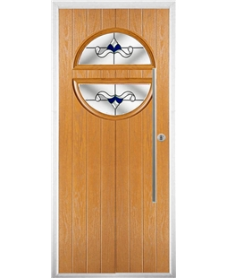 The Xenia Composite Door in Oak with Blue Crystal Bohemia