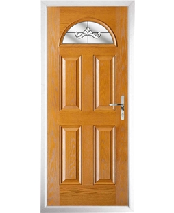 The Derby Composite Door in Oak with Clear Crystal Bohemia