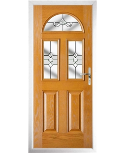 The Glasgow Composite Door in Oak with Clear Crystal Bohemia