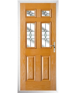 The Oxford Composite Door in Oak with Clear Crystal Bohemia