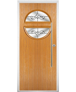 The Xenia Composite Door in Oak with Clear Crystal Bohemia